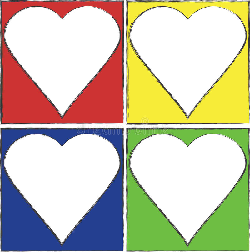 Trames colorées de coeur illustration stock