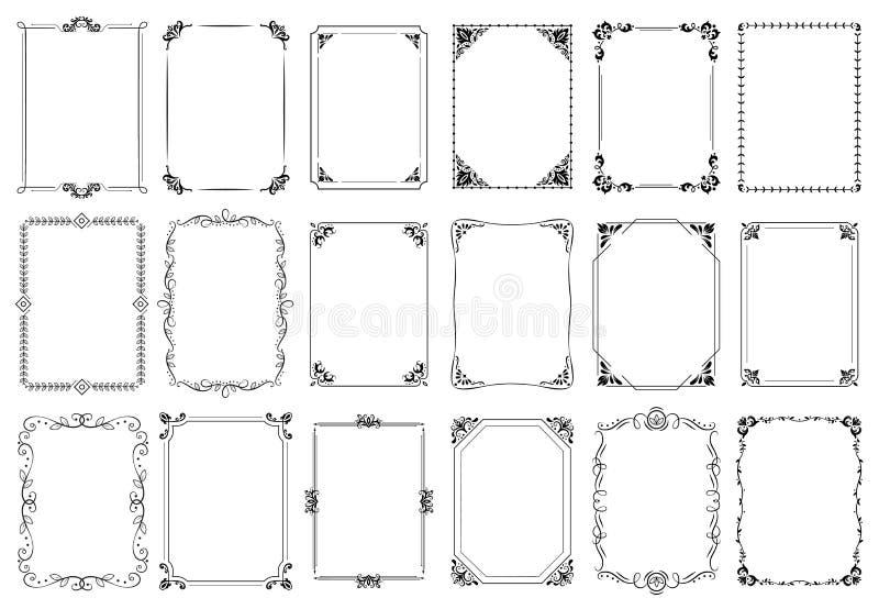 Trames d?coratives Rétro cadre ornemental, ornements de rectangle de cru et ensemble fleuri de vecteur de frontière illustration stock