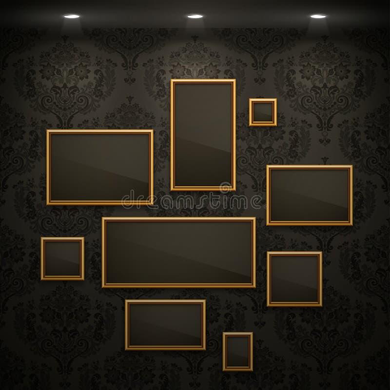 Trames d'or sur le mur. illustration de vecteur