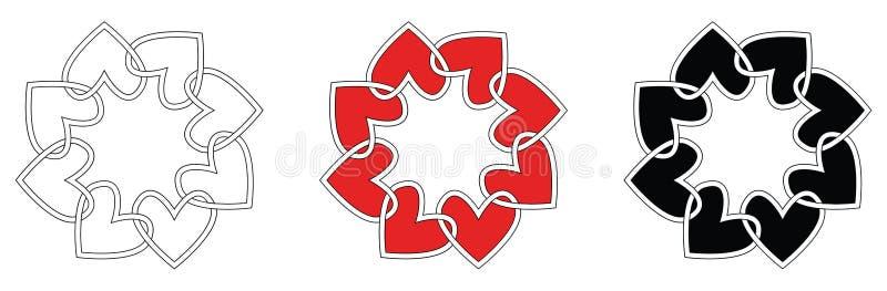 Trames de coeur réglées illustration de vecteur