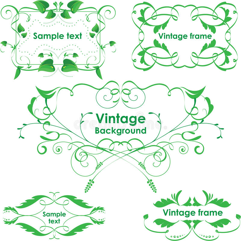 Trames de cru. Éléments de conception de vecteur. Vert d'Eco illustration stock