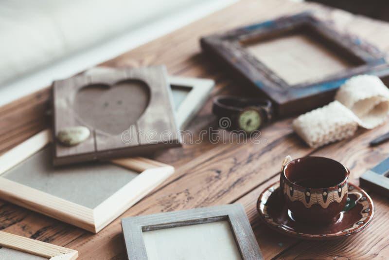 Trames en bois de photo images libres de droits