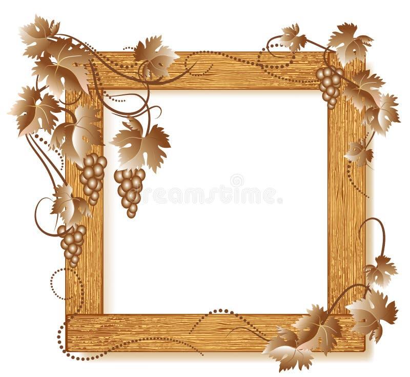 Trames en bois de photo avec des raisins illustration libre de droits
