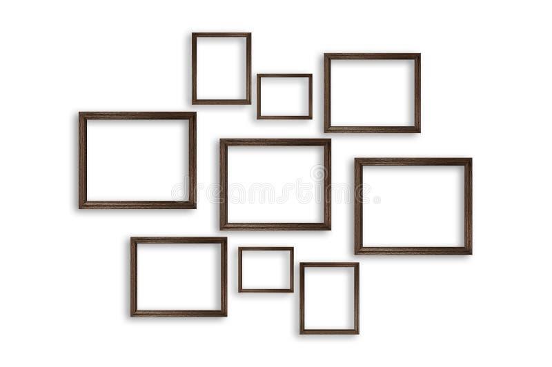 Trames en bois de photo sur le fond blanc illustration stock