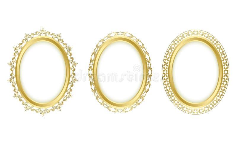 Trames ovales d'or - positionnement illustration stock