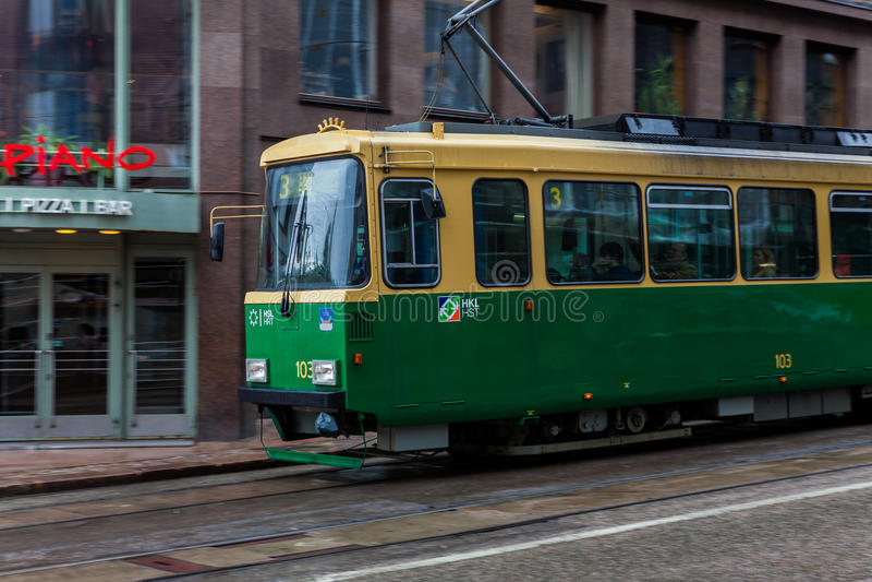 Tramlijn in Helsinki finland stock foto's