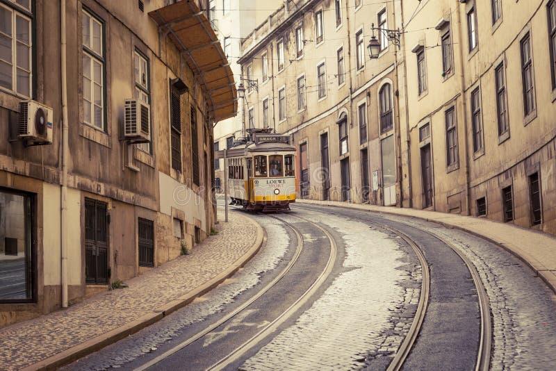 Tramlijn 28, Lissabon, Portugal stock foto