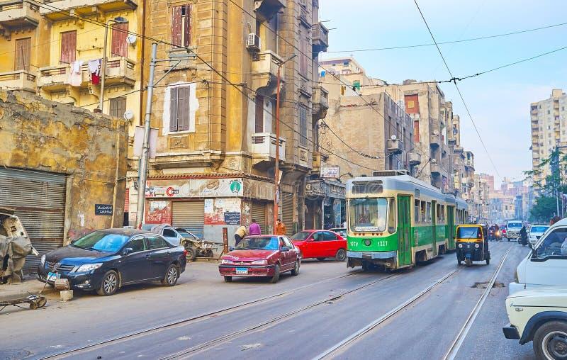 Tramline de Al Madina en Alexandría, Egipto imagen de archivo libre de regalías