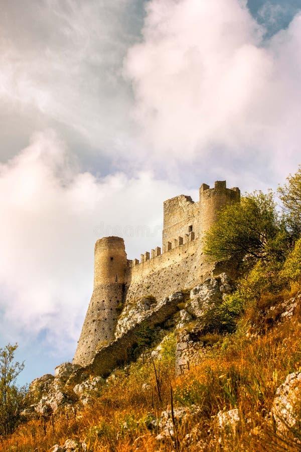 Tramonto Abruzzo, Italia di Rocca Calascio fotografia stock libera da diritti