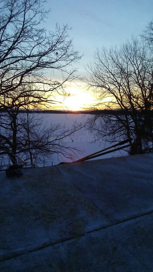 Tramonto ad ovest del lago di mcdonald fotografia stock libera da diritti