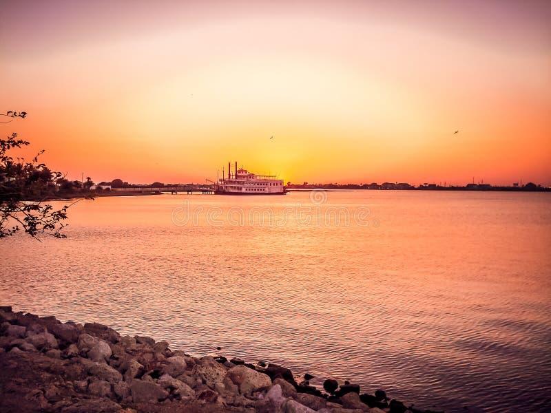 Tramonto ai giardini lunatici, Galveston immagini stock libere da diritti