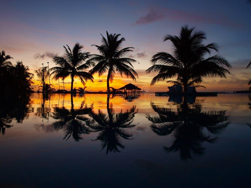 Tramonto ai Maldives fotografie stock