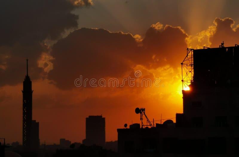 Tramonto al Cairo fotografia stock libera da diritti
