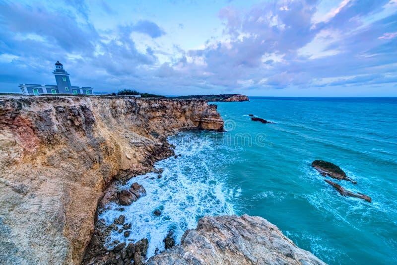 Tramonto al faro di Los Morrillos, Cabo Rojo, Porto Rico immagini stock libere da diritti