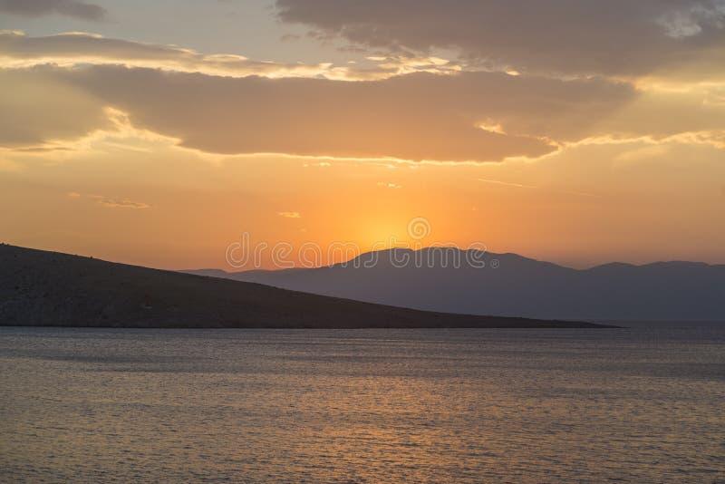 Tramonto al golfo di Kvarner, Croazia fotografia stock
