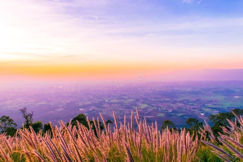 Tramonto al NAK di Pha Hou di Chaiyaphum, Tailandia fotografie stock libere da diritti