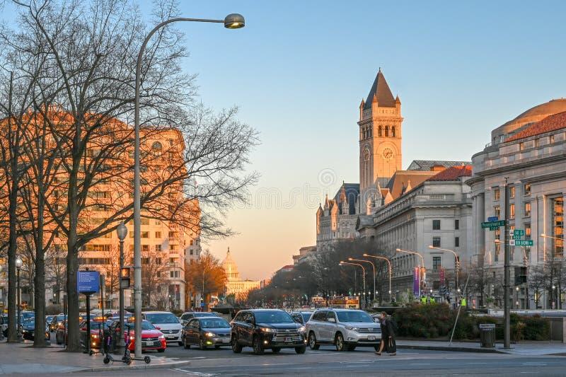 Tramonto al viale della Pensilvania, Washington DC fotografia stock libera da diritti
