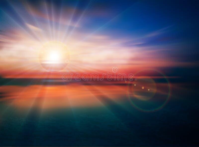 Tramonto/alba di stupore al mare, yoga, carta da parati variopinta di meditazione royalty illustrazione gratis