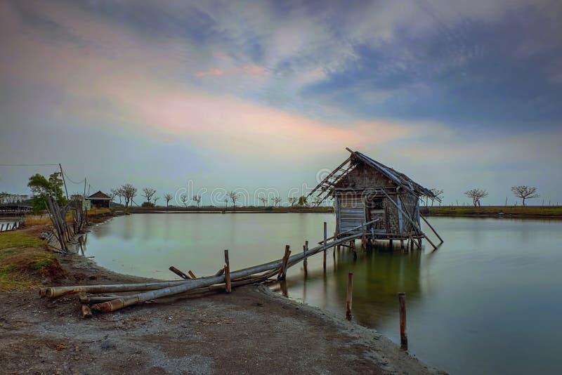 Tramonto, alba, Tanjung Kait, Tangerang, ponte di bambù, albero, paesaggio, natura, capanna fotografie stock libere da diritti
