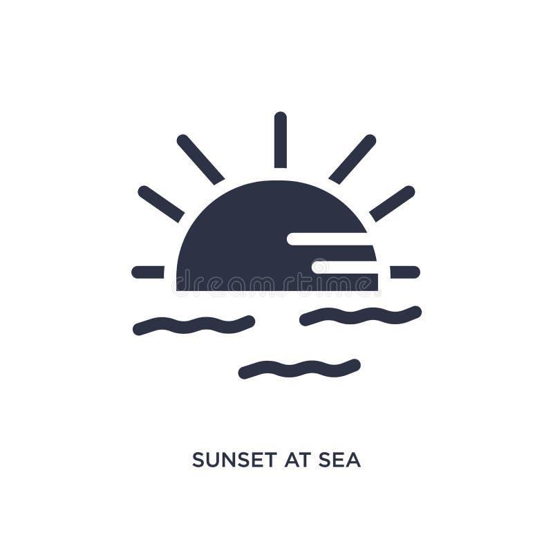 tramonto all'icona del mare su fondo bianco Illustrazione semplice dell'elemento dal concetto di estate royalty illustrazione gratis