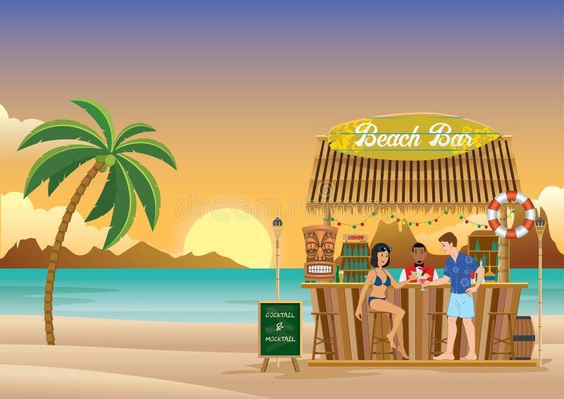 Tramonto alla barra della spiaggia illustrazione vettoriale