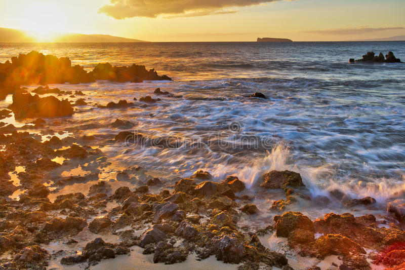 Tramonto alla grande spiaggia fotografia stock