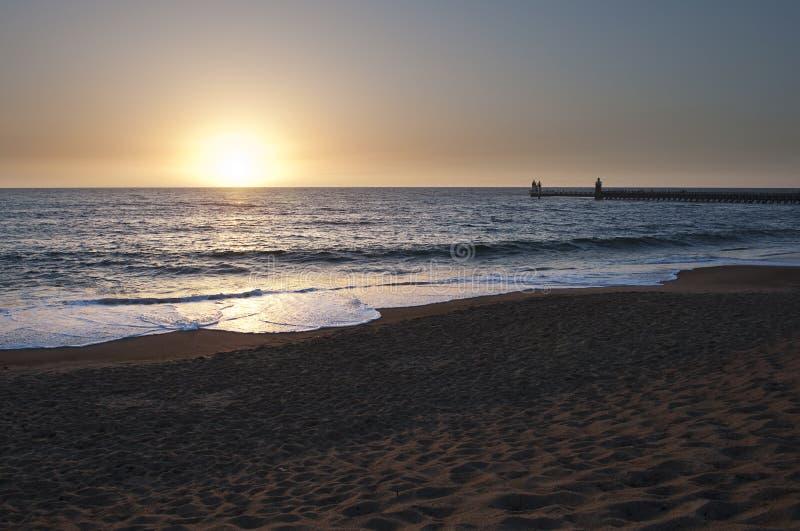 Tramonto alla spiaggia di Capbreton fotografia stock