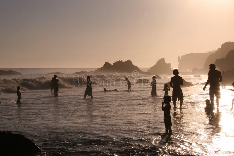 Tramonto alla spiaggia di EL Matador fotografia stock libera da diritti