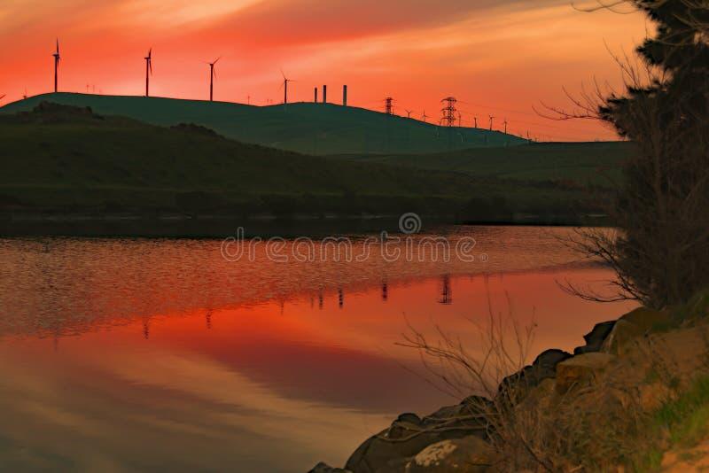Tramonto a Bethany Reservoir immagine stock libera da diritti