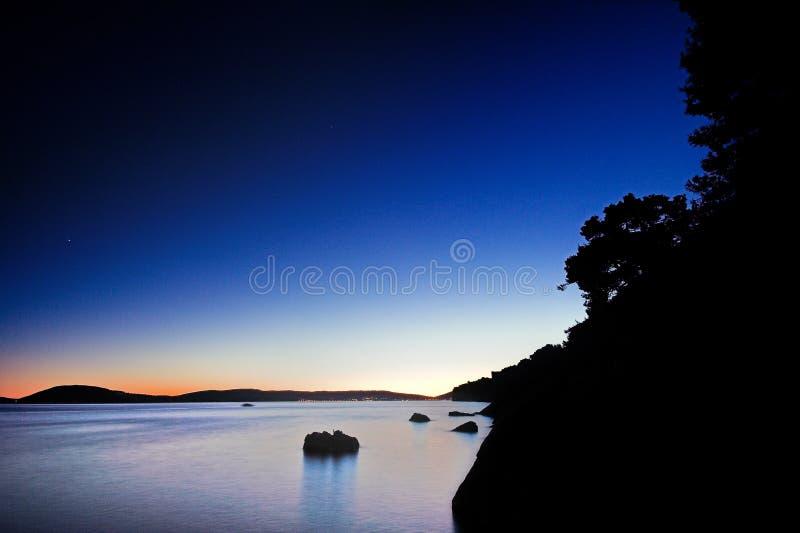 Tramonto blu fotografie stock