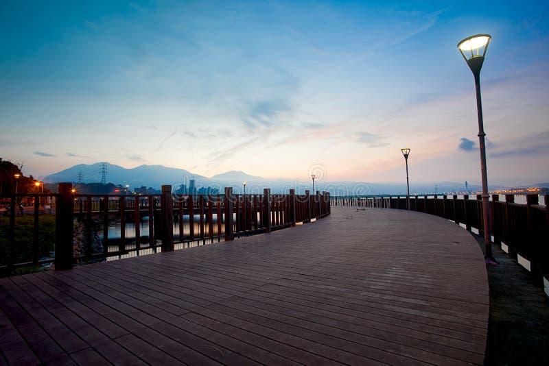 Tramonto blu di Tamsui di stile, nuova Taipeh, Taiwan immagini stock