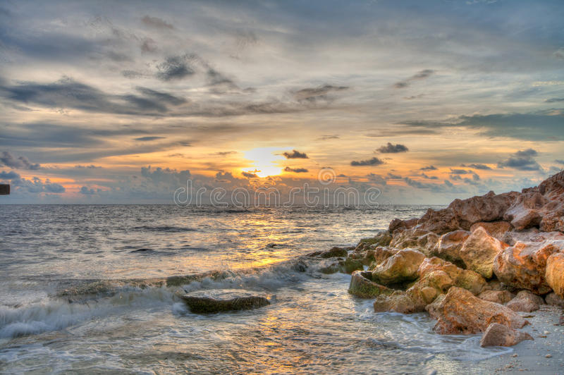 Tramonto a Boca Grande Beach, Florida fotografia stock