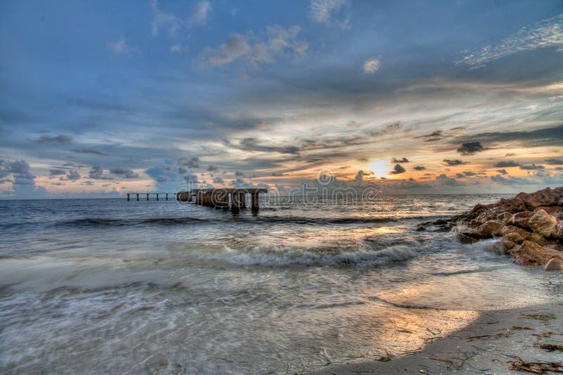 Tramonto a Boca Grande Beach, Florida immagine stock libera da diritti