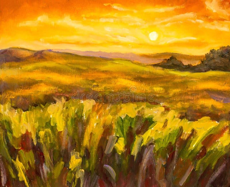 Tramonto caldo nel fondo artistico della pittura delle montagne illustrazione vettoriale
