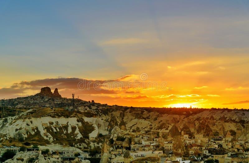 Tramonto in Cappadocia La Turchia immagine stock libera da diritti