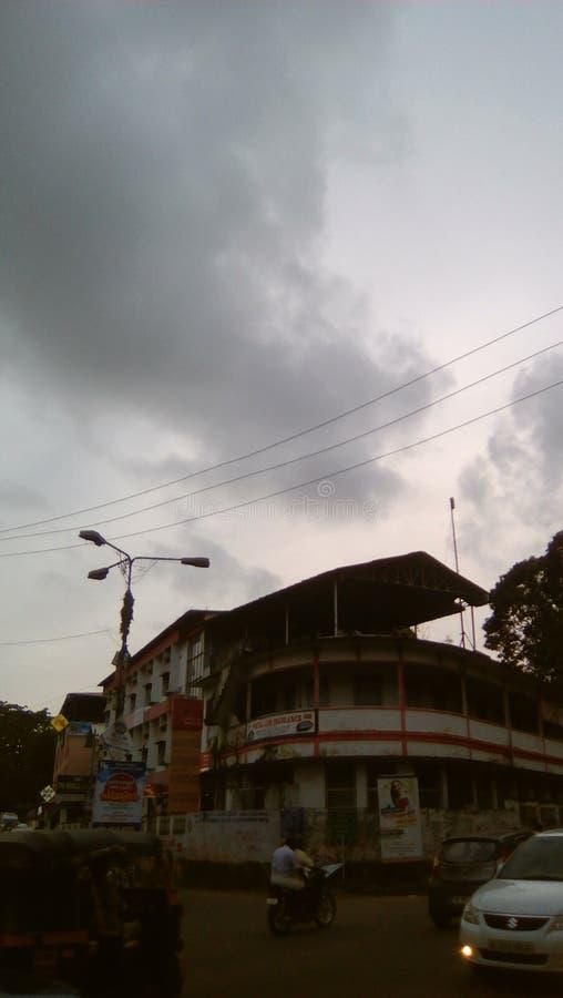 Tramonto a Changanacherry nel Kerala fotografia stock libera da diritti