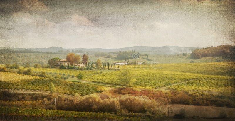 Tramonto in Chianti, Toscana - la regione del vino immagine stock