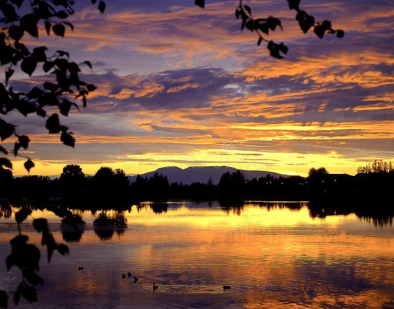 Tramonto d'Alasca fotografia stock libera da diritti