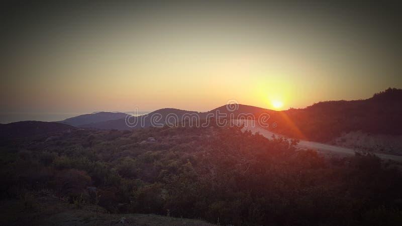 Tramonto da Kassandra Greece fotografie stock libere da diritti