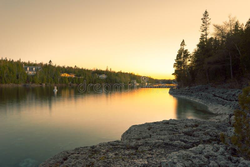Tramonto dal grande faro della vasca, Tobermory, Ontario fotografia stock libera da diritti