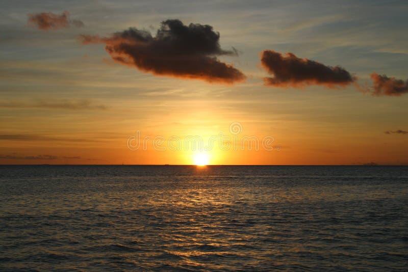 Tramonto dall'isola Bora Bora immagine stock
