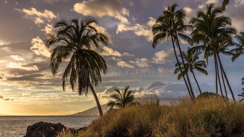 Tramonto dalla spiaggia di Kamaole, Maui immagini stock libere da diritti