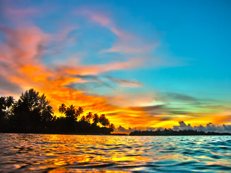 Tramonto dei Maldives fotografia stock