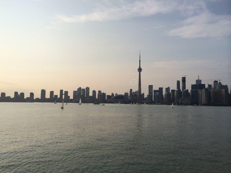 Tramonto del centro di Toronto Canada fotografia stock