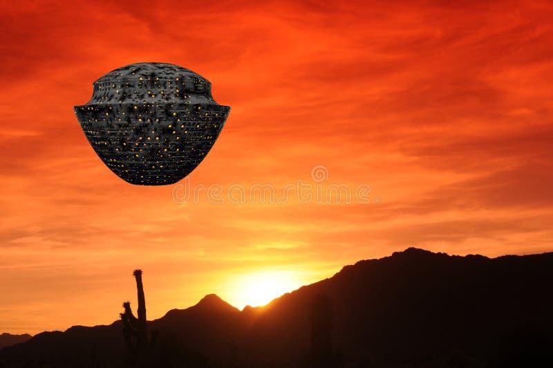 Tramonto del deserto della nave spaziale illustrazione vettoriale