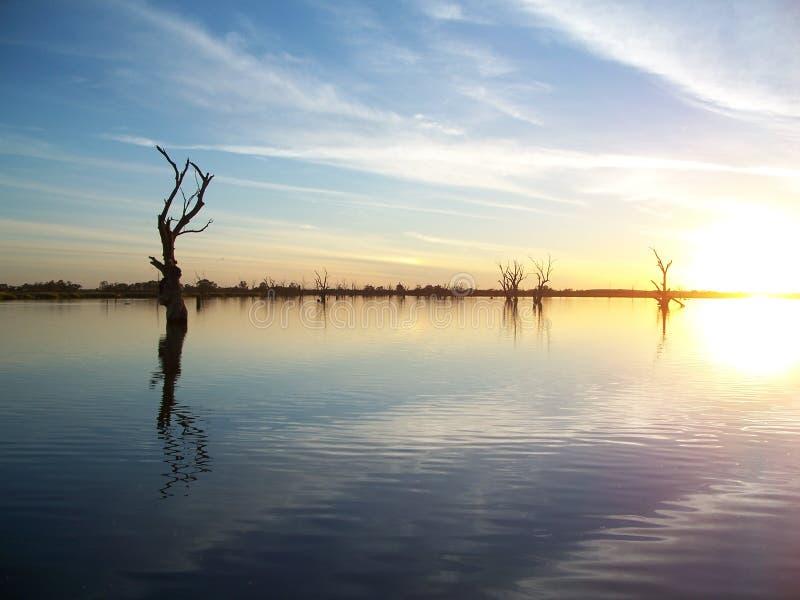 Tramonto del fiume di Murray immagini stock