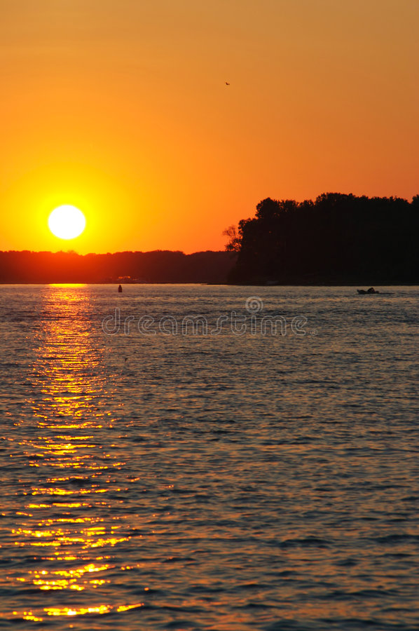 Tramonto del fiume Mississippi fotografia stock