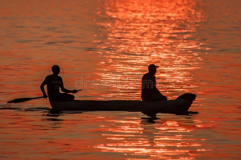 Tramonto del lago Malawi immagini stock