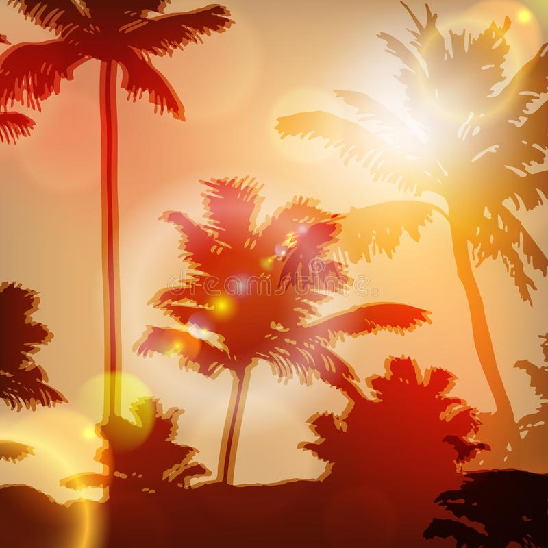 Tramonto del mare con l'isola e le palme illustrazione di stock