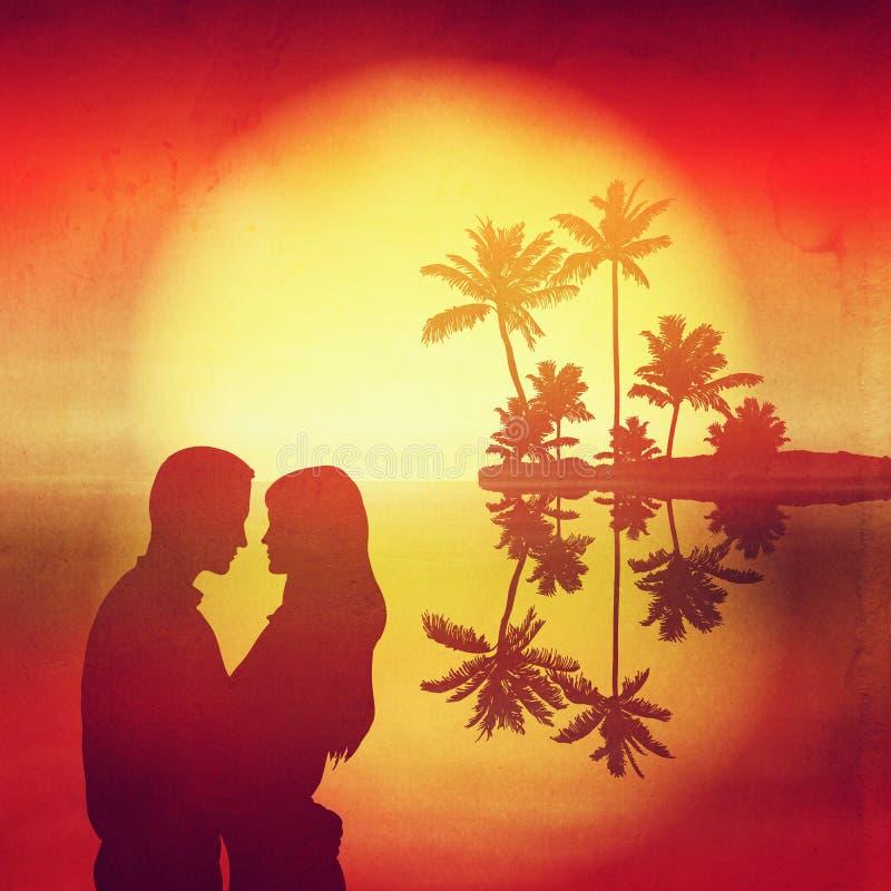 Tramonto del mare Isola con le palme e la siluetta illustrazione di stock